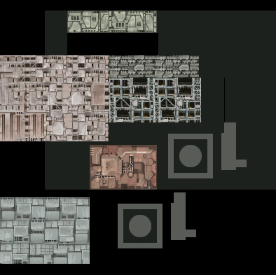 A sheet laying out some ideas for textures to use to build up station structure over a large area.